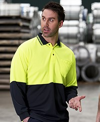 6HVPL JB's Hi Vis Traditional Polo - Long Sleeve