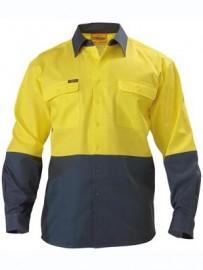 BS6267 2 Tone Hi Vis Drill Shirt - Long Sleeve