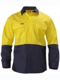 BS6340 Two Tone Hi Vis Cool Lightweight Drill Shirt - Long Sleeve