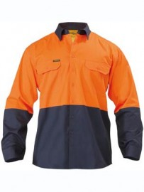 BS6895 Two Tone Hi Vis Cool Lightweight Drill Shirt - Long Sleeve
