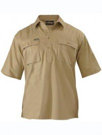 BSC1433 Closed Front Mens Cotton Drill Shirt - Short Sleeve