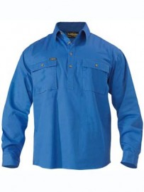 BSC6433 Closed Front Cotton Mens Drill Shirt - Long Sleeve