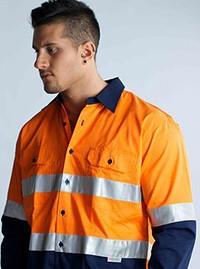 SHVLSRF Hi-Vis Cotton Drill Long Sleeve Reflective Tape
