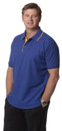 PS08 Men's Contrast Pique Short Sleeve Polo