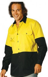 SW58 Hi Vis Cool-breeze Cotton Twill Long Sleeve Safety Shirts